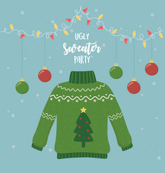 Christmas ugly sweater party hanging balls lights vector