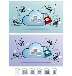 cloud storage protected from computer virus vector image