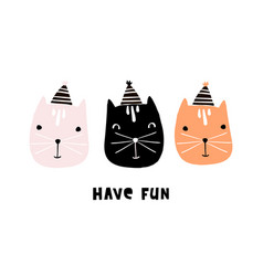 cute cats with party hats hand drawn vector image