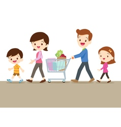 Cute family shopping together vector image