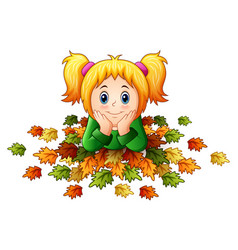Cute little girl with autumn leaves vector