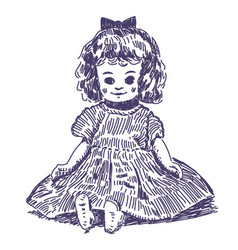 Doll hand drawn vector
