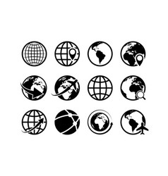 earth globe icons world map geography internet vector image