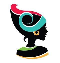 Elegant woman profile vector