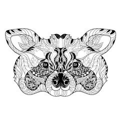 entangle raccoon head doodle hand drawn vector image