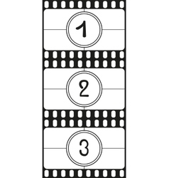 Film countdown numbers part 1 vector image