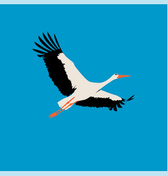 flat stork isolated stork on blue background vector image
