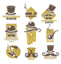 Gentleman or man smoking club template vector