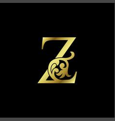 Gold luxury letter z ornament logo alphabet vector