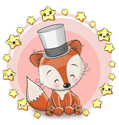 Greeting card fox with stars vector