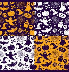 halloween seamless patterns icons vector image