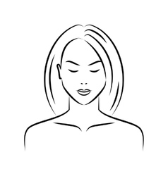 hand drawn female face vector image
