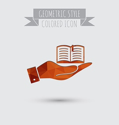 hand holding a open book sign Education sign vector image