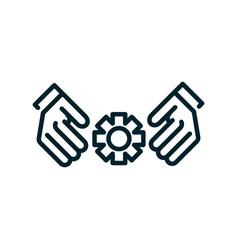 hands with flower peace and human rights line vector image