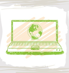 Handwriting sketch wolrd inside green computer vector