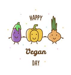 happy vegan day vector image