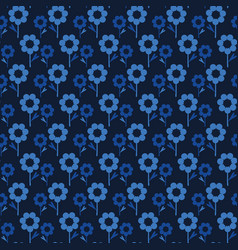 Indigo blue hand painted large scale daisy floral vector