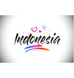 Indonesia welcome to word text with love hearts vector