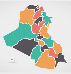 Iraq map with states and modern round shapes vector