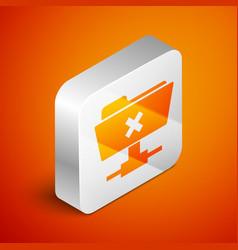 Isometric ftp cancel operation icon on orange vector