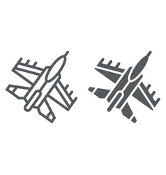 jet fighter line and glyph icon air and army vector image