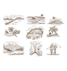 landscape sketches wild nature seascape mountain vector image