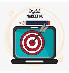 Laptop digital marketing ecommerce icon vector