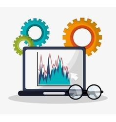 Laptop graph statistics financial gears business vector