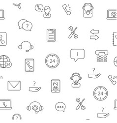 line call support center icons pattern vector image