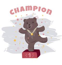 Little champion bear cartoon cute character baby vector
