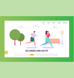 Man and woman character run outdoor landing page vector