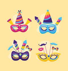 masks carnival festive vector image