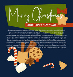 merry christmas poster with text sample vector image