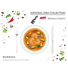 monaco cuisine european national dish collection vector image