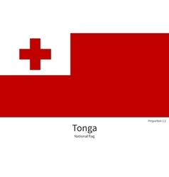 National flag of Tonga with correct proportions vector