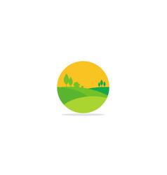 nature landscape village logo vector image
