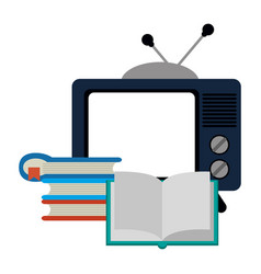 old tv and books stacked vector image