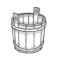 old wooden bucket vector image