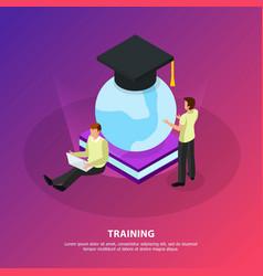 online training isometric background vector image