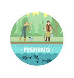 outdoor summer activities fishing people vector image