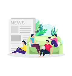 people read news from gadget vector image