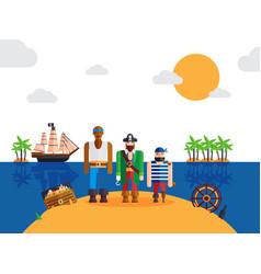 pirates on desert island vector image