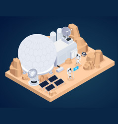 Planet base isometric composition vector
