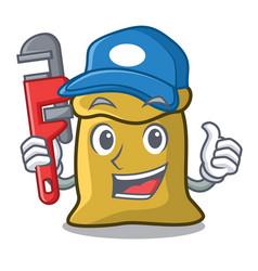 Plumber flour mascot cartoon style vector