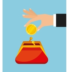 Purse and gold coin vector