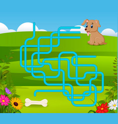 Puzzle game template with dog and bone vector