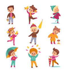 rainy day children kids in warm autumn vector image