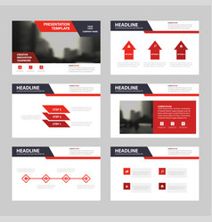 Red black presentation templates infographic vector