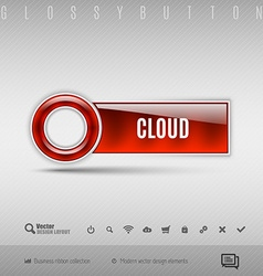 Red plastic button on the gray background design vector image