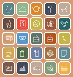 Restaurant line flat icons on orange background vector